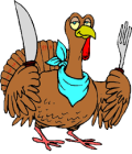 Turkey with knives